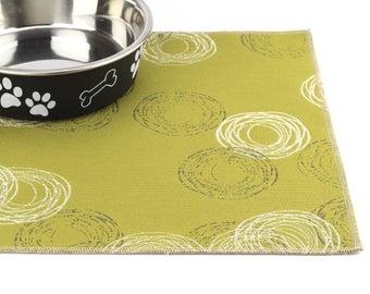 Dog Food Mat, Choose Your Size, Waterproof Pet Mat, Non Skid Dog Mat, No Mess Mat, Cat Litter Box Mat, Durable, Cat Food Mat, Green Circles