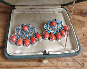 1980's enamel and coral ear-rings.