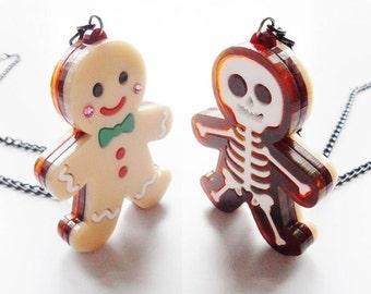 Gingerbread man reversible pendant
