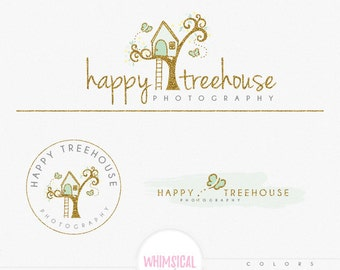 Cute Treehouse Logo -  Premade Photography Logo and Watermark, Classic Elegant Script Font GOLD GLITTER TREE children Calligraphy Logo