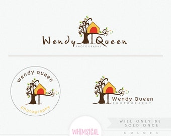 OOAK Whimscial tree house 3 Premade Photography Logo and Watermark, Elegant Font TREE children Calligraphy Logo colorful exclusive logo