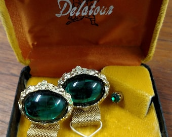 Green and gold tone cufflinks and tie tack set.