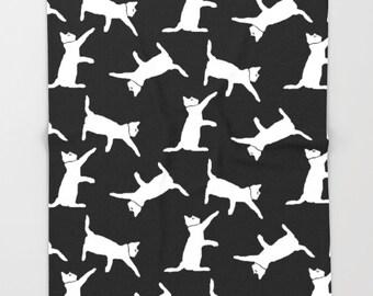 Cat Blanket, Black and White Throw Blanket, Fleece Blanket, Black and White Blanket, Soft Blanket, Black and White Decor, Dorm Decor