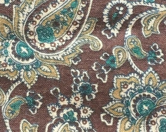 """Vintage Cotton Brown Paisley Print Fabric  // 44.5x42""""  quilting weight > JOAN KESSLER for Concord > unused"""