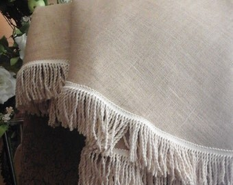 Custom Round Burlap Table Cloth In Natural |French Country Table Runner|French  Table Cloth