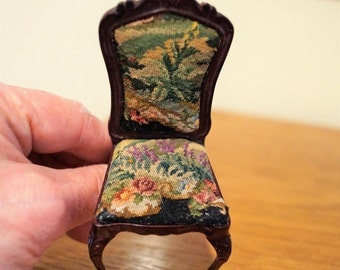 Dollhouse Miniature Side Chair with Petit Point; Garden Theme, Free Shipping