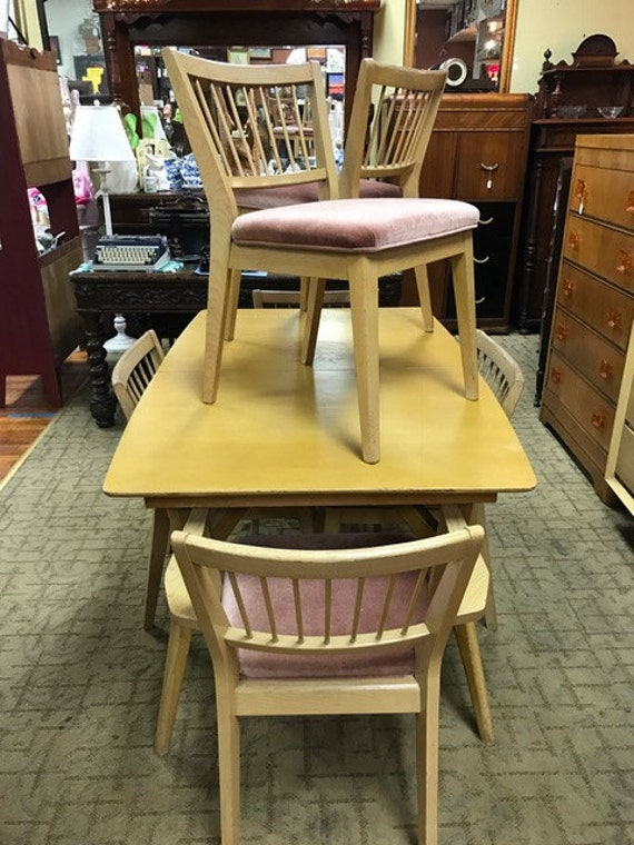 Mid Century Dining Table, six Chairs & Leaf