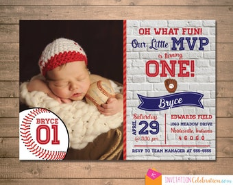 Baseball First Birthday Invitation - MVP - Photo - Vintage - Choose Printable or have it PRINTED for you with envelopes, Shipping Included