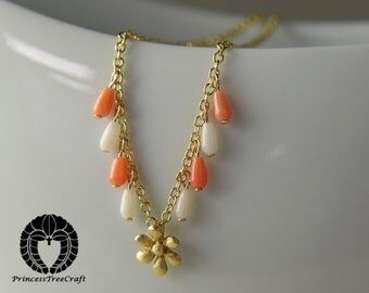 Vermeil flower charm necklace pendant with white and pink coral
