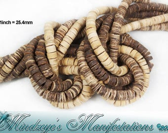 "1- 24"" Strand Natural Coco Shelll Beads 2-6x6mm"