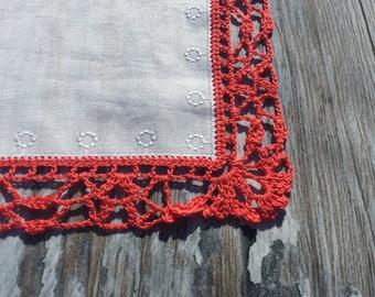 Ladies Hankies . Crochet Lace Edge Handkerchief . Pink Border . White Hankie . Crochetted Border . New Hankie .