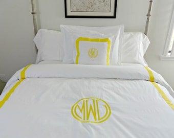 Twin Queen King Duvet Cover Monogrammed with Welting and Ribbon/ Linen Duvet Custom/ Duvet Personalized Duvet/ Bed Comforter