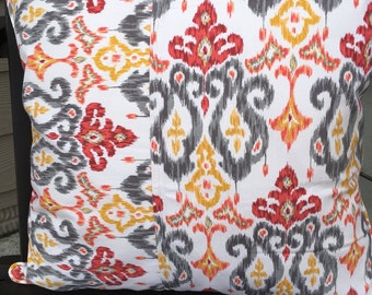 outdoor pillow cover 20 x 20 inch pillow cover ikat pillow cover gray ikat pillow gray
