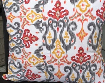 Outdoor Pillow Cover 20 x 20 inch Pillow Cover Ikat Pillow Cover Gray Ikat Pillow Gray Red Yellow Pillow Cover Patio Decor