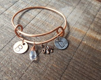 Mother's Day Bracelet, Copper Charm Bracelet, PERSONALIZED Bracelet, Mothers Day Jewelry, Monogrammed Jewelry, Adjustable Bangle
