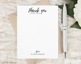 Personalized Thank You Card Set / Flat Personalized Stationary / Personalized Notecard Set / Personalized Stationery // SO VERY MUCH