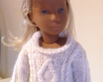White Sweater with Aran pattern for Sasha and similar size dolls