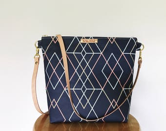 Modern Diamond Print Cross body with Leather Strap