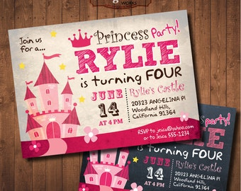 Princess Castle Birthday Invitation. Chalkboard. DIY card. Girl. Digital Printable card