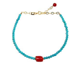 Turquoise Rondels and Red Coral Nugget  Bracelet