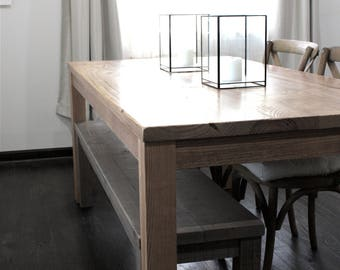 Small Dining Table, Reclaimed Wood Parsons Kitchen Table