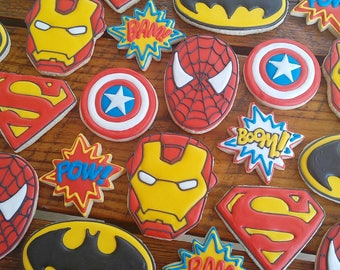 Superhero Cookies - Batman, Superman, Captain America, Spiderman, Ironman