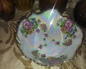 SALE Vintage Springtime Lusterware Bowl with Pansies and Gold Trim