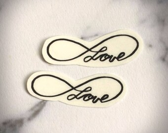 Infinity Love Temporary Tattoo Temporary Black Simple Minimal Line Cursive Calligraphy Trending Small Foot Delicate Dainty Wrist Temp Tat