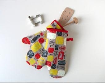 Oven glove oven mitt pot holder oven cloth grey red yellow kittchen