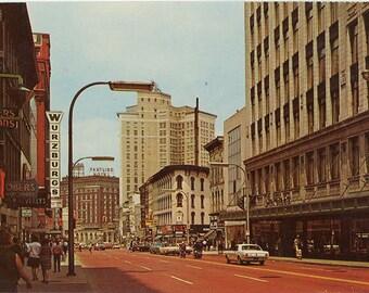 Grand Rapids Michigan Monroe Avenue 1960s Vintage Postcard