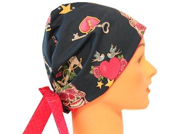 Scrub Hat Surgical Scrub Cap Chemo Vet Nurse Dr Hat European Pixie Style  Glitter Skulls Hearts Pink Blue  2nd Item Ships FREE