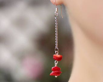 Red Coral Silver Earrings Long Coral Earrings Silver Chain Earrings Coral Chain Earrings Red Earrings Modern Earrings Red Silver Earrings