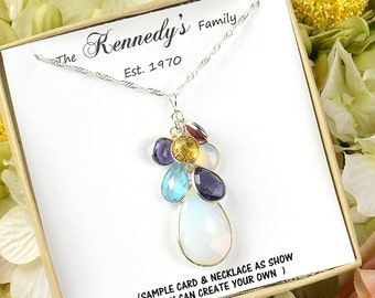 Mothers birthstone necklace,Mothers family tree necklace,Personalized Necklace mothers daughter gift for grandma gifts for mom necklace
