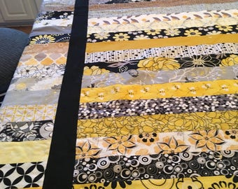Yellow and Black Stripes Quilt