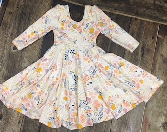 Whispy Wildflower Twirl Dress~ Infant and Toddler Twirl/circle dress