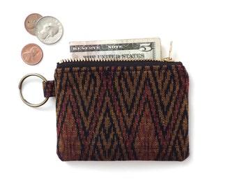 Keychain Coin Purse Slim Wallet Zipper Pouch Vintage Cotton