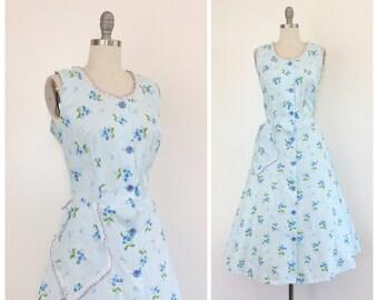 50s Blue Cherry Print Cotton Dress / 1950s Vintage Day Dress / Large / Size 10