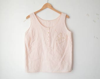 pastel peach floral embroiedered tank top 80s // L-XL