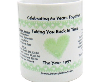 1957 60th Anniversary Mug - Celebrating 60 Years Together