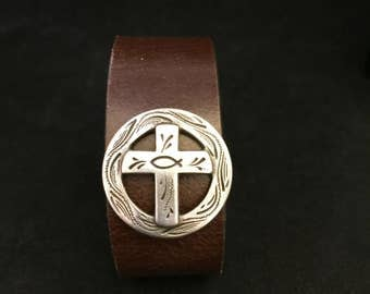 Cuff Bracelet - Unisex Leather Cuff with Cross and Fish Concho Made From Recycled Leather Belt - FREE SHIPPING