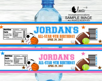 All Star Sports Water Bottle Labels - Digital File or Printed Labels