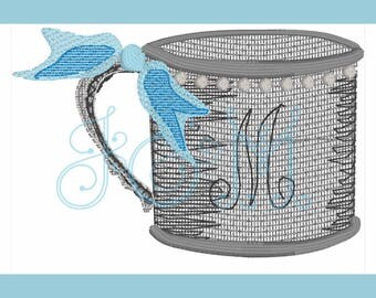 Silver or Pewter Baby Cup Motif fill embroidery design (with and without bow - letter not included)