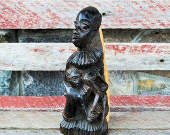 Vintage Hand Carved Hand Stained African Sculpture