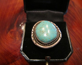 Large Turquoise Ring with  Rope and Chisel Work in Sterling