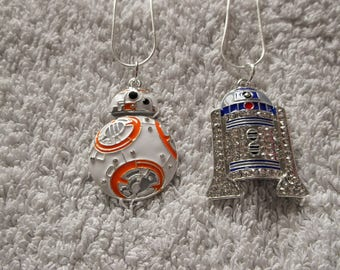 STAR WARS Movie Inspired Large Charm Necklaces BB8 or R2-D2