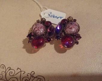 Vintage clip on earrings by Robert. Beautiful shades of purple.
