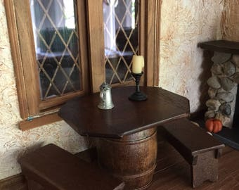 Handcrafted Tudor Barrel Table With Two Benches For A Dollhouse Or  Miniature Pub
