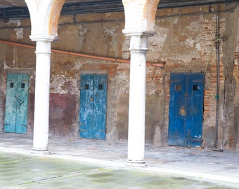 Old Italian Architecture, Venice, Italy, Blue Doors and Arches in Italy, Brick Walls, Stucco