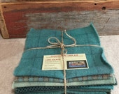 Springtime Turquoise Wool Bundle, Hand-Dyed Wool Fabric for Rug Hooking, Applique, Penny Rugs, Quilting, 8 - One Sixteenth Yard Pieces W256