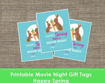 Printable Movie Night Gift Tags - Happy Spring - DIY - The Studio Barn
